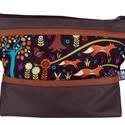 Rókás designer táska vendeg255860 részére, Barna cordurát és téglabarna textilbőrt kombin...