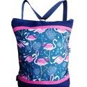 Flamingós hátizsák és oldaltáska egyben, Táska, Válltáska, oldaltáska, Hátizsák, Sötétkék cordurát kombináltam pink cordurával és flamingós mintával nyomott vízálló designer textill..., Meska