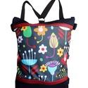 Fekete virágos hátizsák és oldaltáska, Táska, Hátizsák, Fekete cordurát kombináltam bordó gyöngyház színű textilbőrrel és egy színes, virág mintás vízálló d..., Meska