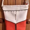 Piros-fehér, Táska, Válltáska, oldaltáska, Piros bőrből és fehér textilbőrből készült egyedi táska. Elejét fém cipzár díszíti.Bel..., Meska