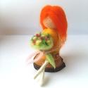 Gerbera, Anyák napja, Dekoráció, Otthon, lakberendezés, Tűnemezeléssel készült gyapjúlélek. Haja olyan, mint az izzóan fénylő narancssárga virág; a  Gerbera..., Meska