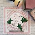 Rózsaszín virágos, Mindenmás, Naptár, képeslap, album, Ajándékkísérő, Képeslap, levélpapír, A lapot fehér, és virágos kartonból készült. A virágot én festettem Disterss Odide-val. A la..., Meska