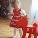 Pirosfestő 62-104-es lány ruha madeira  csipke díszítéssel, Ruha, divat, cipő, Gyerekruha, Baba (0-1év), Kisgyerek (1-4 év), A pirosfestő mintájú lány ruha anyaga 100 % pamut. A hátán cipzárral záródik, és a bőség..., Meska