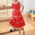 Pirosfestő 110-152-es lány ruha madeira  csipke díszítéssel, Ruha, divat, cipő, Gyerekruha, Kamasz (10-14 év), Gyerek (4-10 év), A pirosfestő mintájú lány ruha anyaga 100 % pamut. A hátán cipzárral záródik, és a bőség..., Meska
