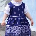 Kékfestő 62-104-es baba/lány ruha madeira  csipke díszítéssel, Ruha, divat, cipő, Gyerekruha, Baba (0-1év), Kisgyerek (1-4 év), A kékfestő mintájú lány ruha anyaga 100 % pamut. A hátán cipzárral záródik, és a bősége..., Meska