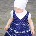 Kékfestő 62-104-es lány ruha madeira  csipke díszítéssel, Ruha, divat, cipő, Gyerekruha, Baba (0-1év), Kisgyerek (1-4 év), A kékfestő mintájú lány ruha anyaga 100 % pamut. A hátán cipzárral záródik, és a bősége..., Meska