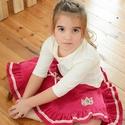 PÖRGŐS kord szoknya, 74-104-es, sötét rózsaszín, lány, pamut  csipke díszítéssel , Ruha, divat, cipő, Gyerekruha, Baba (0-1év), Kisgyerek (1-4 év), A sötét rózsaszín, pörgős, lány kordbársony szoknya anyaga bőrbarát: 95 % pamut, 5 % elasz..., Meska