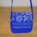 Kékfestő mintájú bordűrös táska, Táska, Válltáska, oldaltáska, A kékfestő mintájú táska anyaga 100 % pamut.  30°-on mosható, az anyag nem ereszti a színét..., Meska