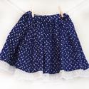 PÖRGŐS, állítható derekú, 2 szélhosszas, 50-80 cm hossz, tulipános sötét kékfestő mintájú néptáncos szoknya, Ruha, divat, cipő, Női ruha, Szoknya, A néptáncos szoknyát úgy alkottuk meg, hogy több évig is viselhessék a lányok, hölgyek és asszonyok,..., Meska