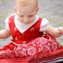 Pirosfestő 62-104-es lány bordűrös ruha madeira  csipke díszítéssel, Ruha, divat, cipő, Gyerekruha, Baba (0-1év), Kisgyerek (1-4 év), A pirosfestő mintájú lány ruha anyaga 100 % pamut. A hátán cipzárral záródik, és a bőség..., Meska