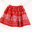 PÖRGŐS, állítható derekú, 2 szélhosszas, 50-80 cm hossz, bordűrös pirosfestő mintájú néptáncos szoknya, Ruha, divat, cipő, Női ruha, Szoknya, A néptáncos szoknyát úgy alkottuk meg, hogy több évig is viselhessék a lányok, hölgyek és asszonyok,..., Meska