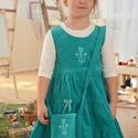 Kord ruha 62-152-es, világos türkiz kék, hímzéssel, pamut csipkével, Ruha, divat, cipő, Gyerekruha, Baba (0-1év), Gyerek (4-10 év), Hímzés, Varrás, A kordbársony ruha anyaga bőrbarát: 95% pamut, 5% elasztán ( ez utóbbitól válik sztreccsé a textil)..., Meska