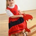 Kord ruha 62-104-es, piros sötétkék,  hímzéssel, szatén szalaggal, Ruha, divat, cipő, Gyerekruha, Baba (0-1év), Kisgyerek (1-4 év), A kordbársony ruha anyaga bőrbarát: 95% pamut, 5% elasztán ( ez utóbbitól válik sztreccsé a textil)...., Meska