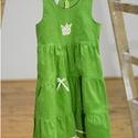 Kord ruha 62-104-es, zöld,  hímzéssel, szatén szalaggal, Ruha, divat, cipő, Gyerekruha, Baba (0-1év), Kisgyerek (1-4 év), A kordbársony ruha anyaga bőrbarát: 95% pamut, 5% elasztán ( ez utóbbitól válik sztreccsé a textil)...., Meska