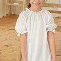 Blúz 110-164-es, fehér, alul sima, Ruha, divat, cipő, Gyerekruha, Gyerek (4-10 év), Kamasz (10-14 év), Varrás, Ez a 100 % pamutból készült blúz kényelmes és csinos viselet kicsiknek és nagyoknak.  A blúz nyaka ..., Meska