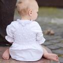 Blúz 110-164-es, fehér, mellben gumizott, Ruha, divat, cipő, Gyerekruha, Gyerek (4-10 év), Kamasz (10-14 év), Varrás, Ez a 100 % pamutból készült blúz csinos és kényelmes viselet kicsiknek és nagyoknak.  A blúz nyaka ..., Meska