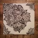 Színezhető virágmotívumos vászonkép-minta 2, Képzőművészet, Otthon, lakberendezés, Falikép, Grafika, Fotó, grafika, rajz, illusztráció, A képet vakrámára feszített vászonra készítettem fekete alkoholos filccel. A minta teljesen egyedi,..., Meska