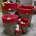 5 db-os tároló szett, Baba-mama-gyerek, Baba-mama kellék, Gyerekszoba, Tárolóeszköz - gyerekszobába, Varrás, 5 db-ból álló játék-, vagy egyéb dolgok tárolására alkalmas zsák szett. Anyaga kívül textilbőr, bel..., Meska