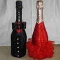 Piros-fekete ruha, pezsgős üvegszettre , Szerelmeseknek, Mindenmás, Varrás, Házassági évfordulóra ajánlom. A pezsgőn látható ruha még magára az üvegre ragasztott, de természet..., Meska