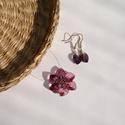 Tündérrózsa Swarovski nyaklánc és fülbevaló, Ékszer, Medál, Nyaklánc, Ékszerkészítés, Gyöngyfűzés, A Swarovskinak egy bájos ametisztlila színű szívével és gyöngyeivel készítettem ezt a virágot formá..., Meska