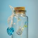 """Üvegcse emberkével, kezében virággal + ajándék charm - """"Elegant Collection"""" (035), Otthon & lakás, Dekoráció, Dísz, Gyöngyfűzés, gyöngyhímzés, Egy kis palackba zárt kedvesség, báj, szeretet. Egyedi, különleges ajándék ez a kézzel készült cuki..., Meska"""
