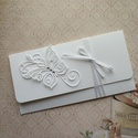 Pénzátadó boríték fehérben, Naptár, képeslap, album, Ajándékkísérő, Elegáns pénzátadó borítékot készítettem névjegykártya kartonból. Mérete: 18,5x9,5 cm. , Meska