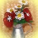 Pipacs margarétával, Dekoráció, Otthon & lakás, Dísz, Lakberendezés, Gyöngyfűzés, gyöngyhímzés, Virágkötés, A virágot cink kiöntőbe készítettem, ami 7 cm magas és 5 cm széles. A dísz 2 szál pipacsból és 5 kis..., Meska