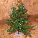 Karácsonyfa gömbökkel, Dekoráció, Otthon & lakás, Dísz, Karácsony, Ünnepi dekoráció, Karácsonyi dekoráció, Gyöngyfűzés, gyöngyhímzés, Virágkötés, 3 cm átmérőjű agyagcserépbe készítettem. A cseréppel együtt 12 cm magas, a tetején arany csúcsdíssze..., Meska