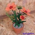 Kokárdavirág, Dekoráció, Otthon & lakás, Dísz, Lakberendezés, Gyöngyfűzés, gyöngyhímzés, Virágkötés, A virág magassága a cseréppel együtt 14 cm, A virágot vékony drótra, narancssárga, mustár sárga, bor..., Meska
