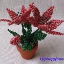 Liliom gyöngyből, Dekoráció, Otthon, lakberendezés, Dísz, A virágot 4,5 cm átmérőjű cserépbe készítettem, magassága  a cseréppel együtt kb.12,5 cm...., Meska