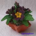 Primula , Dekoráció, Otthon & lakás, Dísz, Lakberendezés, Gyöngyfűzés, gyöngyhímzés, Virágkötés, A virágot 10 cm átmérőjű cserépbe készítettem, magassága  a cseréppel együtt kb.10,5 cm. Legszéleseb..., Meska