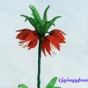 Császárkorona narancssárga asztal dísz, dekoráció gyöngyből, Dekoráció, Otthon, lakberendezés, Dísz, Kaspó, virágtartó, váza, korsó, cserép, Gyöngyfűzés, Ezt a kis otthoni dekorációt 9 cm átmérőjű és 6 cm magas cserépbe készítettem. A virágot 2 mm-es na..., Meska