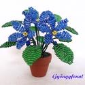 Kék fokföldi ibolya gyöngyből, cserepes virág , Dekoráció, Otthon, lakberendezés, Dísz, Kaspó, virágtartó, váza, korsó, cserép, 3,5 cm átmérőjű cserépbe készítettem ezt a kis díszt. A virágokat kék és zöld  2 mm-es c..., Meska