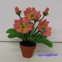 Primula barack, rózsaszín és lila színben cserepes virág , Dekoráció, Otthon, lakberendezés, Dísz, A virágot 3,5 cm átmérőjű cserépbe készítettem, magassága  a cseréppel együtt kb. 11 cm, ..., Meska