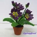 Primula sötét lila és piros színben cserepes virág , Dekoráció, Otthon, lakberendezés, Dísz, A virágot 3,5 cm átmérőjű cserépbe készítettem, magassága  a cseréppel együtt kb. 11 cm, ..., Meska