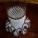 Horgolt pohártartó, Dekoráció, Dísz, Saját készítésű horgolt poháralátét.Kérésre más színekben is.A pohár ajándék., Meska