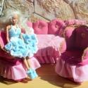Barbie baba bútor textilből, Textillel bevont szivacsból áll a garnitúra.Ami...