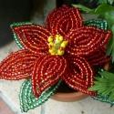 Mikulás virág gyöngyből, A karácsony egyik kelléke . Mini kiadásban :)  ...