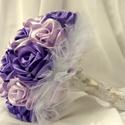 Lila rózsa esküvői csokor, Esküvő, Esküvői csokor, Szatén szalagból készült csokor. Világos és sötét színek kombinálásával. A szirmokat egy..., Meska
