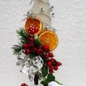 Ledes karácsonyi asztaldísz, Dekoráció, Dísz, Ünnepi dekoráció, Karácsonyi, adventi apróságok, Asztaldísz,  Karácsonyi ajándéknak ajánlom . Az alak hungarocell kúp ,amit bevontam natúr zsinórral. Majd..., Meska