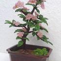 Virágos bonsai, Kásagyöngyből és drótból készült bonsai fa...