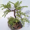 Mini bonsai zöld, Dekoráció, Otthon, lakberendezés, Dísz, Asztaldísz, Gyöngyfűzés, Kásagyöngyből készítettem kis bonsai fát.  Gipsz talpal ,amelyet zuzmóval díszítettem.   Magassága ..., Meska