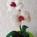Lepke orchidea , Dekoráció, Otthon, lakberendezés, Dísz, Gyöngyfűzés, Rendelhető ! Gyöngyből és drótból készült kis lepke orchidea. Gipsszel van rögzítve . Más színben i..., Meska
