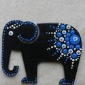 Mandala szerencsehozó elefánt hűtőmágnes kék, Konyhafelszerelés, Hűtőmágnes, Egyedi, kézzel festett mandala elefánt hűtőmágnes, kék színvilágban. Fa lézervágott mintára készült,..., Meska