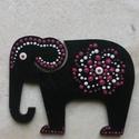 Mandala szerencsehozó elefánt hűtőmágnes pink, Konyhafelszerelés, Hűtőmágnes, Egyedi, kézzel festett mandala elefánt hűtőmágnes, pink színvilágban. Fa lézervágott mintá..., Meska