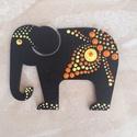 Mandala szerencsehozó elefánt hűtőmágnes sárga, Konyhafelszerelés, Hűtőmágnes, Egyedi, kézzel festett mandala elefánt hűtőmágnes, sárga színvilágban. Fa lézervágott mintára készül..., Meska