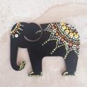 Mandala szerencsehozó elefánt hűtőmágnes sárga, Konyhafelszerelés, Hűtőmágnes, Egyedi, kézzel festett mandala elefánt hűtőmágnes, sárga színvilágban. Fa lézervágott mint..., Meska