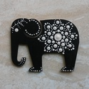 Mandala szerencsehozó elefánt hűtőmágnes bézs, Konyhafelszerelés, Hűtőmágnes, Festett tárgyak, Egyedi, kézzel festett mandala elefánt hűtőmágnes, bézs színvilágban. Fa lézervágott mintára készül..., Meska