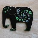 Mandala szerencsehozó elefánt hűtőmágnes zöld, Konyhafelszerelés, Hűtőmágnes, Festett tárgyak, Egyedi, kézzel festett mandala elefánt hűtőmágnes, zöld-szürke színvilágban. Fa lézervágott mintára..., Meska