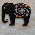 Mandala szerencsehozó elefánt hűtőmágnes narancs, Konyhafelszerelés, Hűtőmágnes, Festett tárgyak, Egyedi, kézzel festett mandala elefánt hűtőmágnes, narancssárga-szürke színvilágban. Fa lézervágott..., Meska